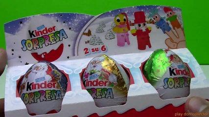 Surprise eggs ! HUEVOS SORPRESA DE NAVIDAD ! KINDER SURPRISE EGGS FINGER FAMILY TOYS !!